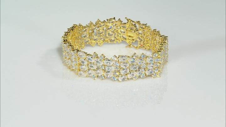 Cubic Zirconia 18K Yellow Gold Over Silver Bracelet 73.92ctw