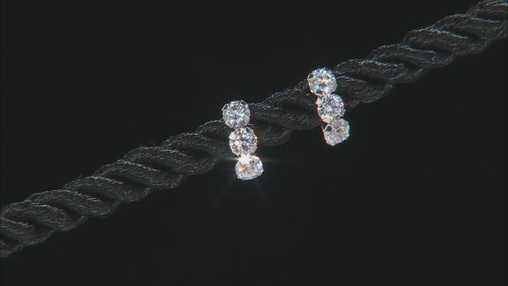 White Cubic Zirconia 10k White Gold Earrings 1.08ctw