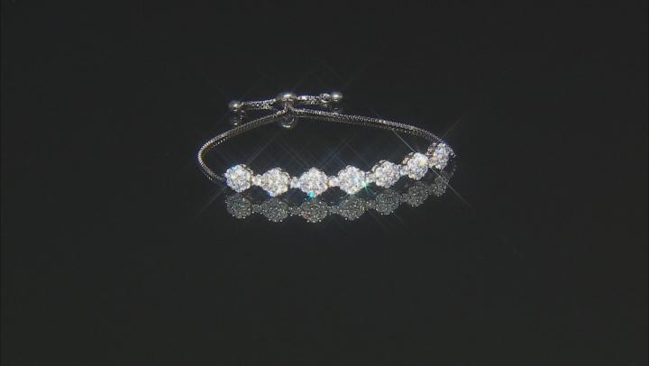 White Cubic Zirconia Rhodium Over Sterling Silver Adjustable Bracelet 4.40ctw
