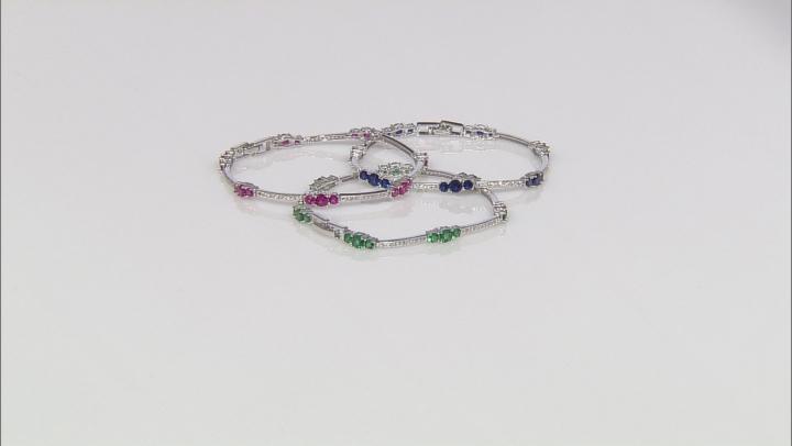 Green Nanocrystal/Cubic Zirconia/Lab BlUe Spinel/Lab Ruby Rhodium Over Sterling Bracelets 18.60ctw