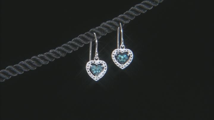 Blue Diamond Rhodium Over Sterling Silver Jewelry Set .20ctw