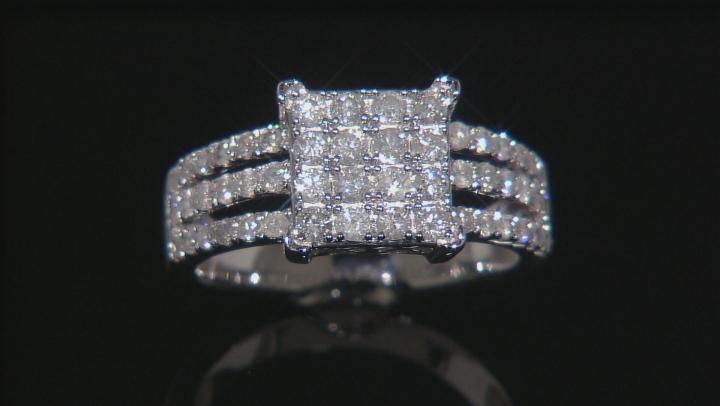 White Diamond 10k White Gold Ring 1.10ctw