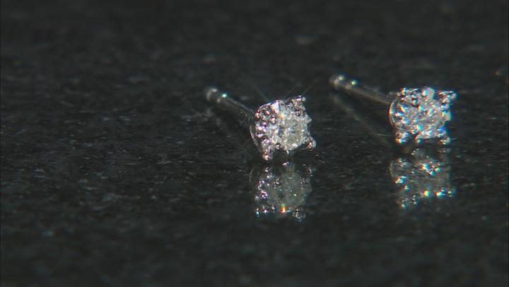 White Diamond 10k White Gold Earrings .10ctw