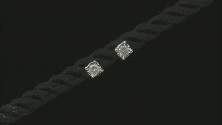 White Diamond Rhodium Over Sterling Silver Earrings .10ctw