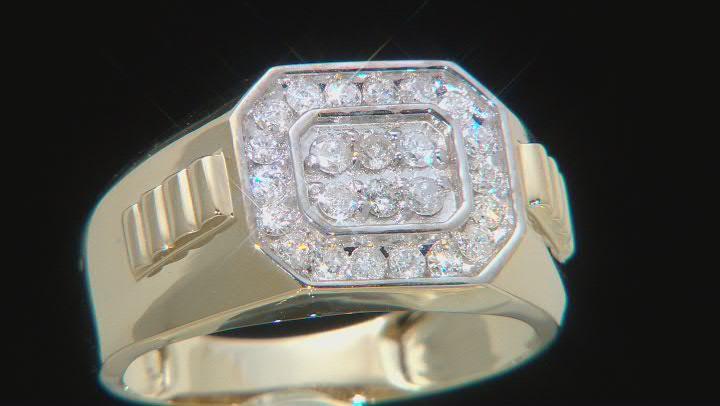 White Diamond 14k Yellow Gold Mens Cluster Ring 0.50ctw
