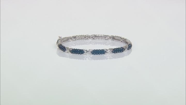 Blue Diamond Rhodium Over Sterling Silver Bracelet 1.50ctw
