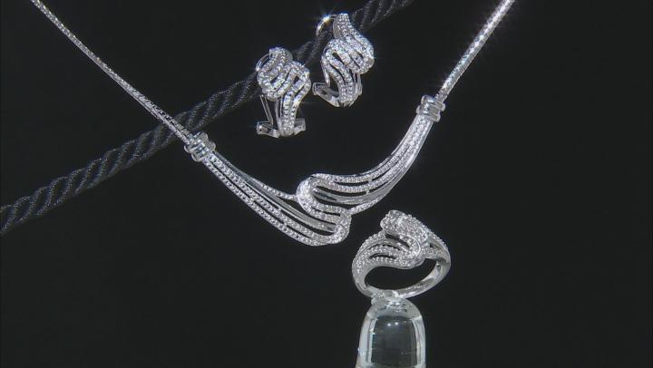 White Diamond Rhodium Over Brass Jewelry Set .50ctw