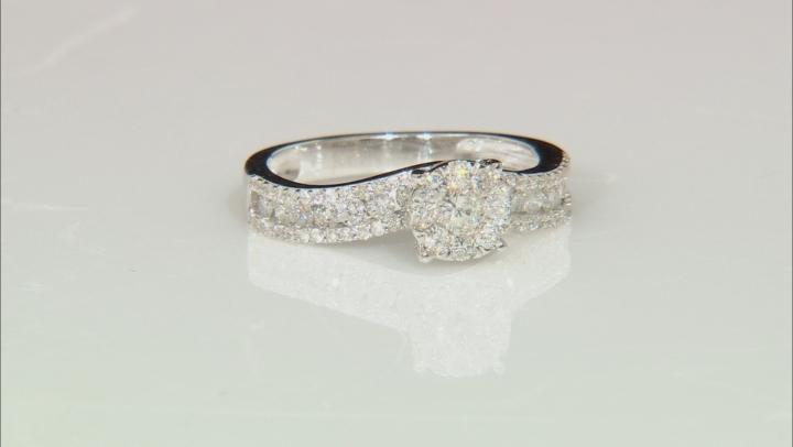 White Diamond 10K White Gold Ring with Matching Band 1.50ctw