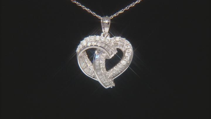 White Diamond 10k White Gold Pendant 0.70ctw