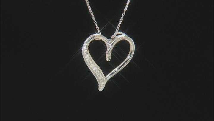 White Diamond Rhodium Over Sterling Silver Pendant .10ctw