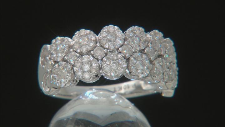 White Diamond 10k White Gold Ring 0.95ctw