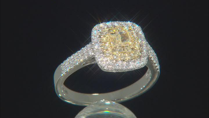 Natural Yellow And White Diamond 14k White Gold Ring 1.08ctw