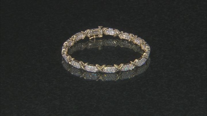White Diamond 10k Yellow Gold Bracelet 3.00ctw