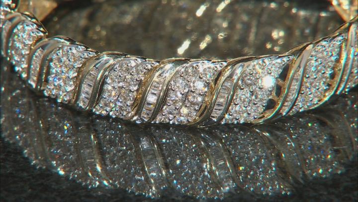 White Diamond 10K Yellow Gold Bracelet 10.00ctw