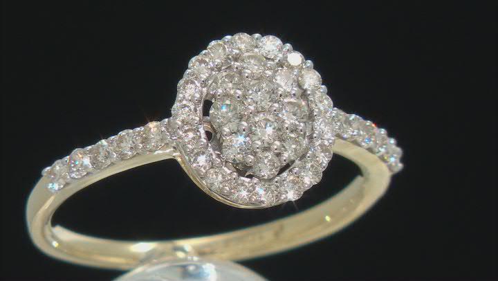 White Diamond 10K Yellow Gold Ring 0.60ctw