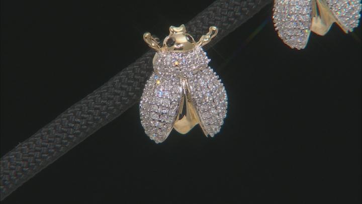 White And Black Diamond 10K Yellow Gold Beetle Earrings 0.33ctw