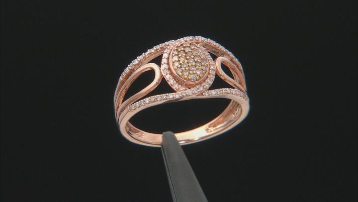 Champagne & White Diamond 10K Rose Gold Ring 0.25ctw