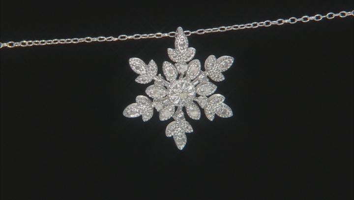 White Diamond Rhodium Over Sterling Silver Pendant 0.10ctw