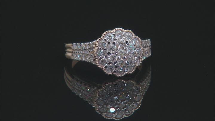 White Diamond 10K Yellow Gold Ring 1.00ctw