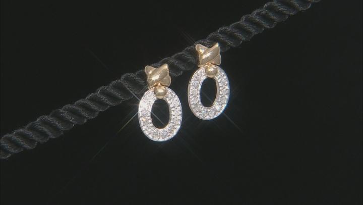 White Diamond 14K Two-Tone Gold Earrings 0.25ctw