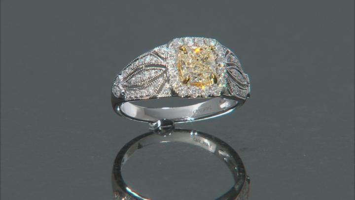 Natural Yellow And White Diamond 14K White Gold Ring 1.44ctw