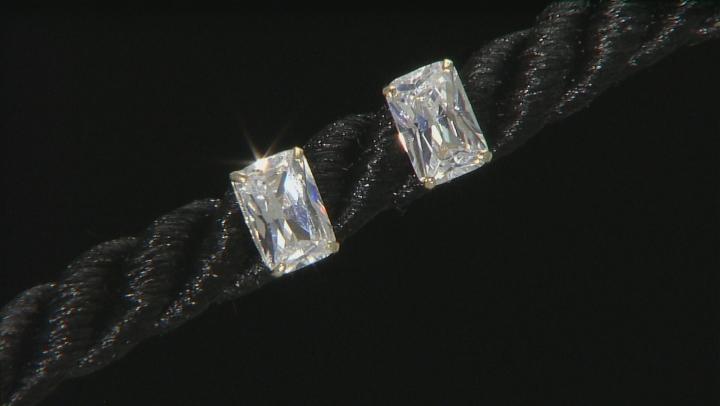 White Cubic Zirconia 14k Yg Earrings 1.35ctw