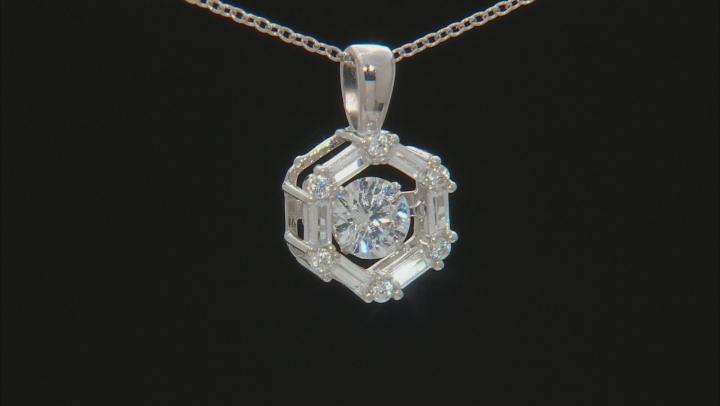 White Cubic Zirconia Rhodium Over Silver Pendant & Earrings Set 4.42ctw