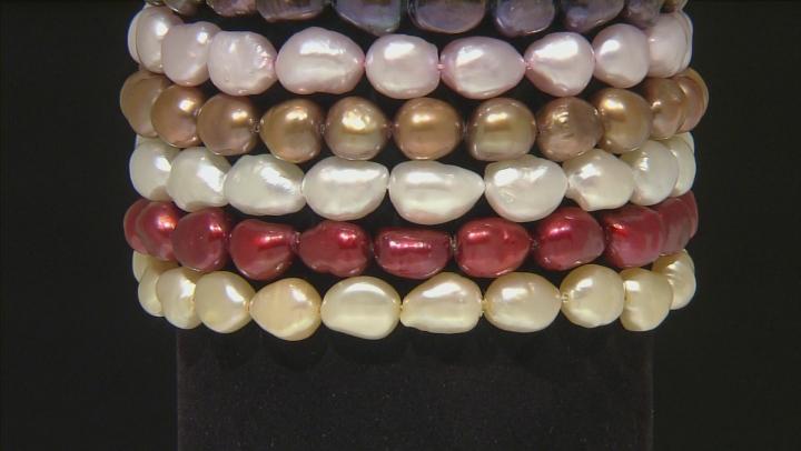 Multi-Color Cultured Freshwater Pearl Stretch Bracelet Set Of 10