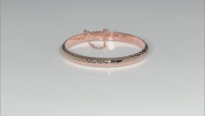 18k Rose Gold Over Silver Diamond Cut Hinged Bangle Bracelet 7 inch
