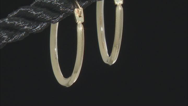 10k Yellow Gold Oval Tube Hoop Earrings