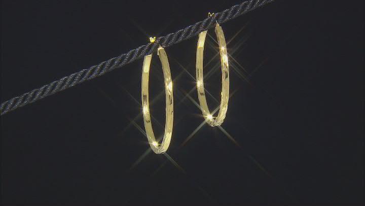 18k Yellow Gold Over Sterling Silver Diamond Cut Hoop Earrings