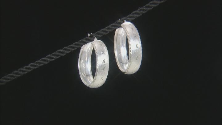 Sterling Silver Textured Satin Polish Hoop Earrings.