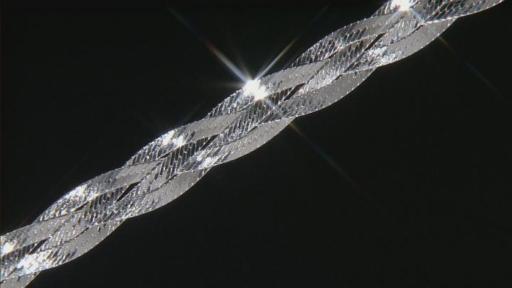 Sterling Silver Diamond Cut Braided Herringbone Bracelet 7.5 inch