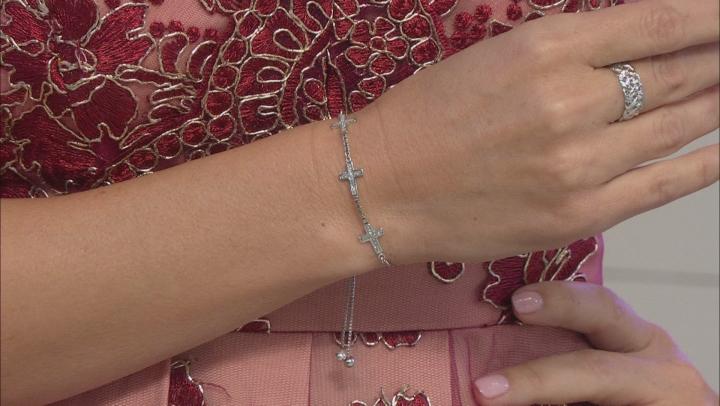 Rhodium Over Sterling Silver Glitter 3-Sideway Cross Adjustable Bracelet