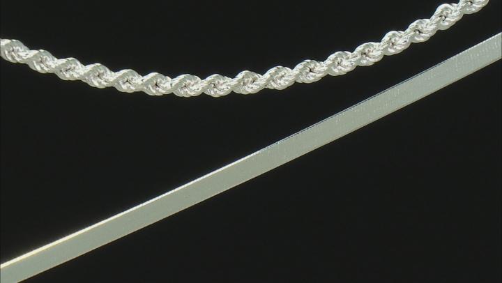 Sterling Silver Rope & Herringbone Bracelet Set