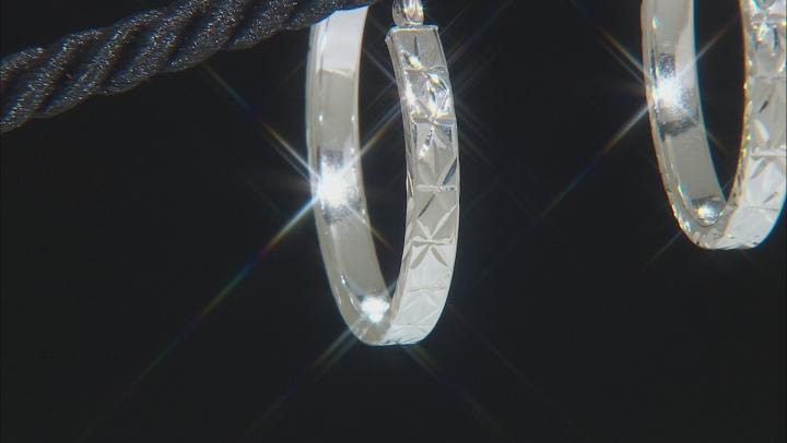 Sterling Silver Polished Etched Hoop Earrings