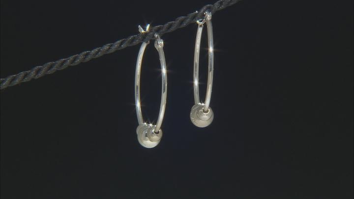 Sterling Silver 24MM  3-Bead Hoop Earrings