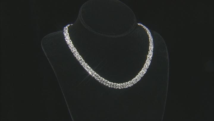 Sterling Silver 7MM  Byzantine Necklace 18 Inch