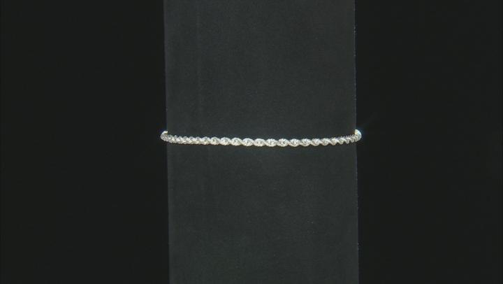 Sterling Silver Diamond Cut Rope Chain Bracelet 6.75 Inch