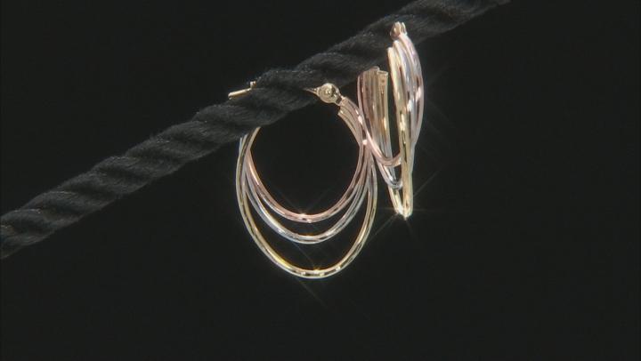 14k Tri-Color 11MM Triple Hoop Earrings