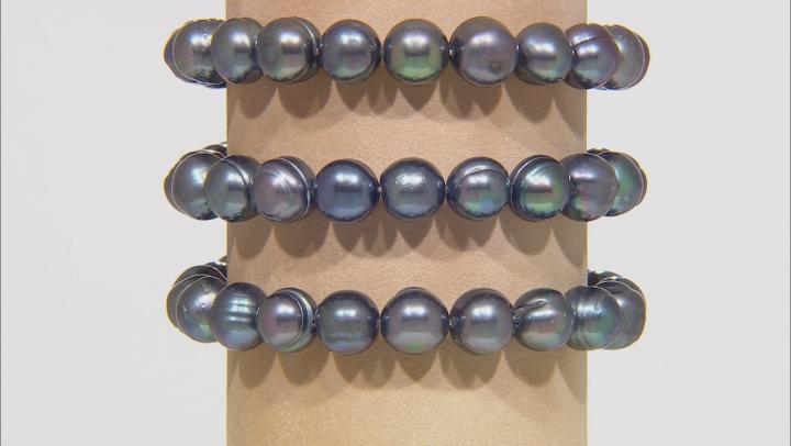Black Cultured Freshwater Pearl 10-11 Stretch Bracelet Set of 3