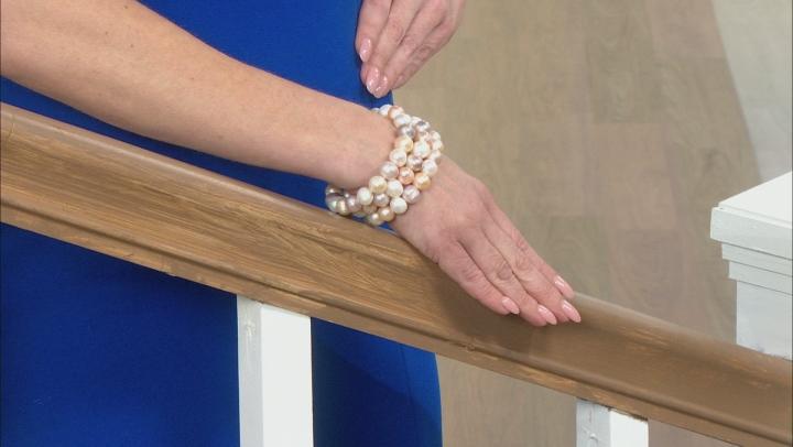Multi-Color Cultured Freshwater Pearl 10-11mm Stretch Bracelet Set of 3