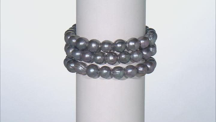 Silver Cultured Freshwater Pearl Stretch Bracelet Set of 3
