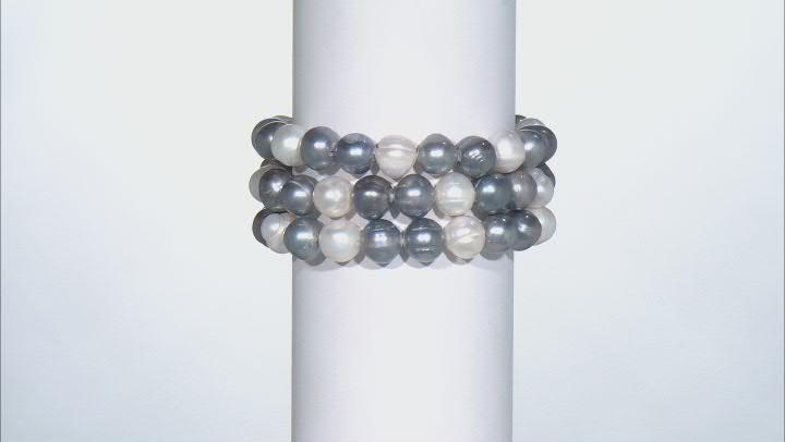 Dark Multi-Color Cultured Freshwater Pearl Stretch Bracelet Set of 3
