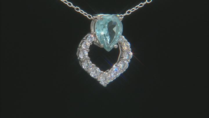 Blue Topaz Rhodium Over Silver Pendant/Slide 1.65ctw