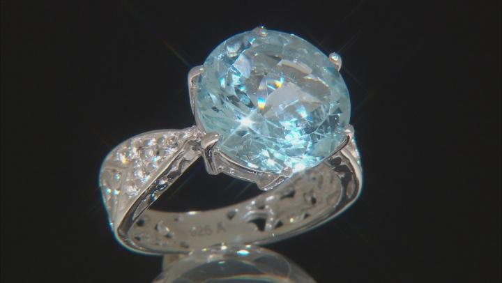 Sky Blue Topaz Rhodium Over Silver Ring 6.75ctw