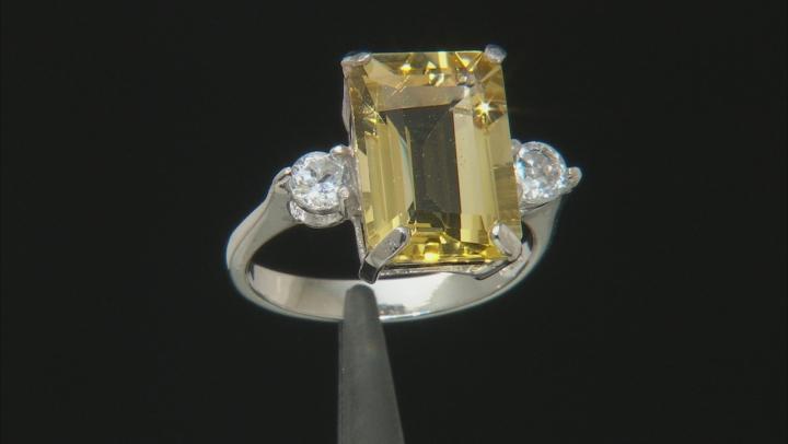 Yellow Brazilian Citrine Rhodium Over Sterling Silver Ring 8.62ctw