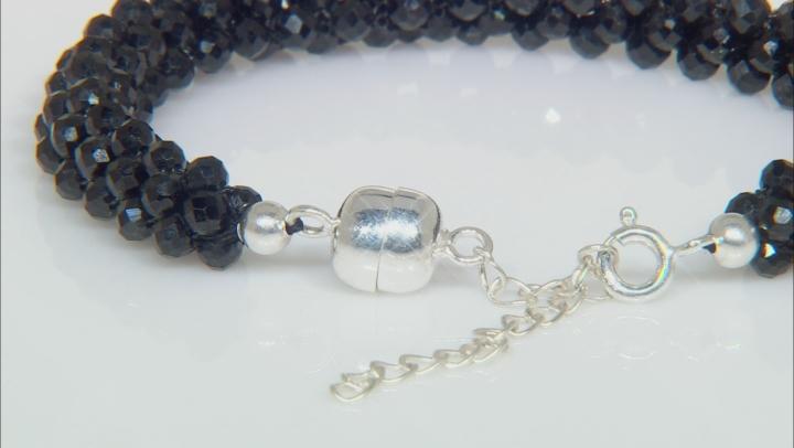 Black Spinel Sterling Silver Bracelet Approximately 60ctw