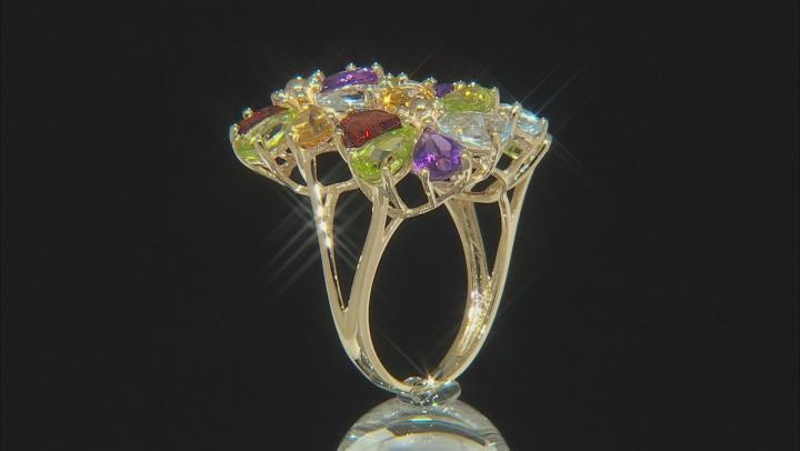 Multi-Gem 10k Gold Cluster Ring 7.93ctw
