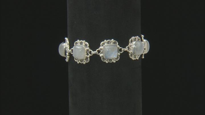 White Rainbow Moonstone Silver Bracelet